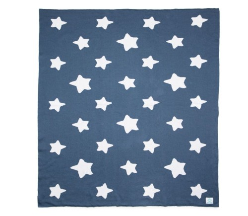 "Ekologiškos medvilnės pledas ""Blue Stars"""