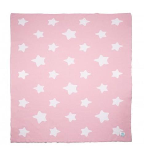 """Ekologiškos medvilnės pledas """"Pink Stars"""""""